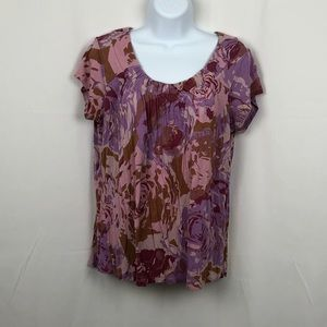 Daisy Fuentes floral rayon knit top LP